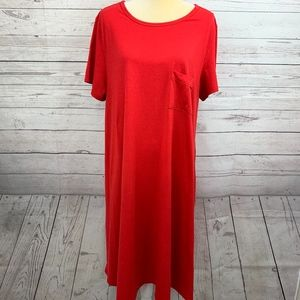 LuLaRoe Carly Solid Apple Red Hi-Low Holiday Dress